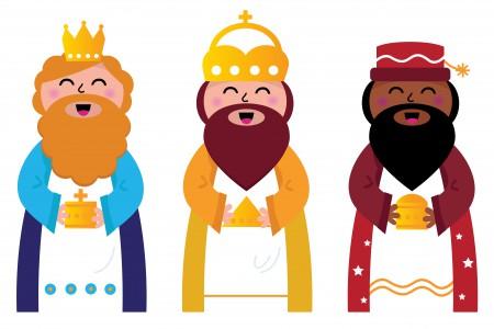 Gaspar, Melchor y Baltasar, los Reyes Magos a domicilio en Santiago de Compostela.